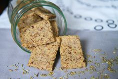 Almond Rosemary crackers - great way to use up almond pulp after making almond milk.   figgy & sprout