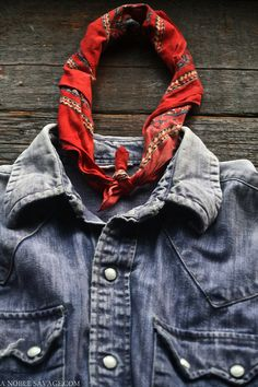 Fun combination of denim and unconventional bandana — Would look nice with cowgirl boots!