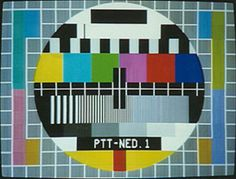 Testbeeld als er geen uitzending was. De tv begon pas 's middags. En pas in 1988 kwam Nederland 3.
