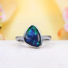 Ocean Blue Fire Australian Black Opal Triplet (Boulder Opal) Ring
