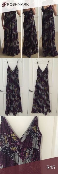 """[Anthropologie•Maeve] maxi dress 6 [Anthropologie•Maeve] """"she who is beautiful"""" maxi dress 6 •🆕listing •great pre-owned condition •multicolor purple/grey/mustard yellow floral design •tag size 6, May best fit S-M, for length reference, model is 5'6"""" and dress hits floor •spaghetti straps with tie on back •material 68% cotton 32% silk shell, lining 100% cotton, has several layers, medium thickness •offers and bundles welcomed using the features• Anthropologie Dresses Maxi"""