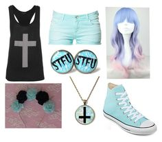 """""""READ THE D ITS IMPORTANT"""" by ironically-a-strider21 ❤ liked on Polyvore featuring Zara, Cotton Candy and Converse"""
