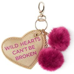 "Under One Sky ""Wild Hearts Can't Be Broken"" Key Chain ($12) ❤ liked on Polyvore featuring accessories, pink, ring key chain, pom pom key rings, pom pom key chain, fob key chain and heart key ring"