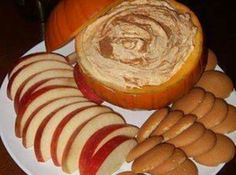 Fall Dip - Cool Whip, Vanilla Instant Pudding mix, Canned Pumpkin, Pumpkin Pie Spice.  Serve with Apples, Nilla Wafers, Graham Crackers.