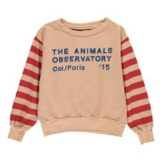 The Animals Observatory Sweat Manches Rayées Bear Pale pink - Kids fashion - Smallable
