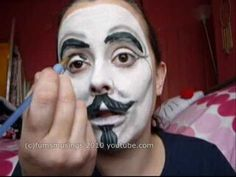 Halloween Make up tutorial - V from V For Vendetta mask.wmv, via YouTube.