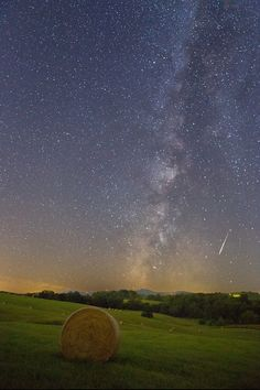 "Meteor in a Hay Stack - Andrew Rhodes shared this amazing image of a lone Perseid meteor over Northern Virginia, taken on Aug. 14, 2013. ""After a week of rain and clouds during the Perseid meteor shower, I was able to catch this straggler streaking over the western Virginia skies."""