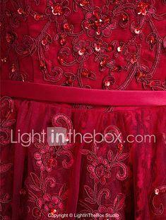 Corte en A Camiseta con cuello redondo Hasta el Gemelo Encaje Fiesta de Cóctel Vestido con Botones Encaje por TS Couture® 2018 - $1535.32