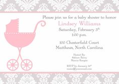 Baby Shower Invitation Baby Carriage Butterfly By Pinkberrydesign