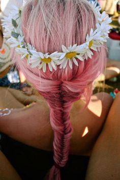 pink fishtail braid + flower crown