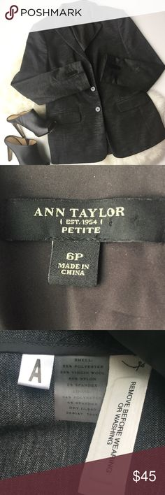 - ANN TAYLOR - Wool Blend Blazer Gorgeous Ann Taylor wool blend blazer, comfortable and cozy while still looking chic.  Perfect to pair with a pencil skirt and button down for work or wear into the weekend with a lace blouse and skinny jeans.    Excellent pre-loved condition - no flaws, very comfortable.  ✨ Offers welcome, 20% off bundles! ✨ ▪️ No trades / selling off of Posh ▪️ Ann Taylor Jackets & Coats Blazers