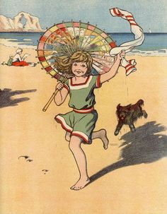 Seashore frolics... vintage illustration