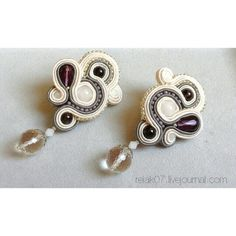 Сутажные серьги, хрусталь, селенит, раухтопаз #yuliaozmen #Soutache #earrings #white #grey #silver