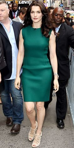 Weisz headed to Good Morning America in a neoprene Lanvin shift and nude Gianvito Rossi lace-ups.