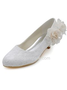 Elegantpark Ivory Women s Round Toe Low Heel Flowers Lace Bridal Wedding  Shoes US 9 d0accefcf669
