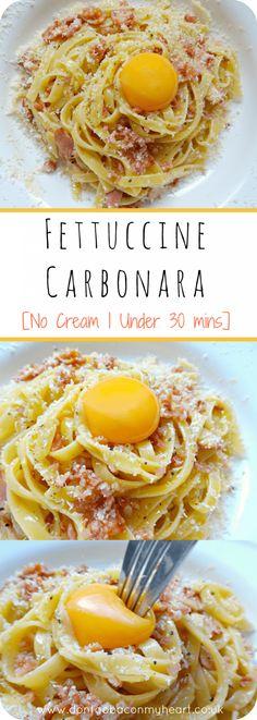 fettuccine Carbonara no cream pinterest pin