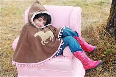 Girl's Cape Pony Brown Fleece Poncho with Hood by thetrendytot