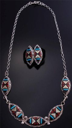 Multistone Zuni Inlay Silver Necklace / Earring Set - Larry Leslie