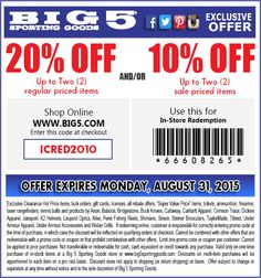 Pinned August 28th: 20% off a couple items at Big 5 sporting goods or online via promo code #ICRED2010 #coupon via The #Coupons App