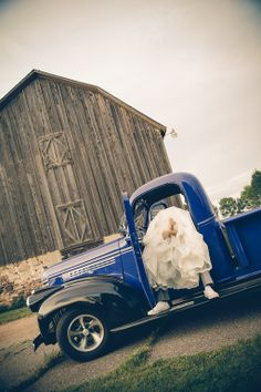 Vintage Truck Wedding Picture of Bride and Grooms Feet