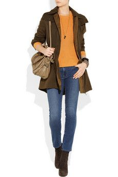 Jeans + orange and brown for weekend