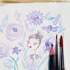 Tuesday night flowery sketch. Good night. 🌙 #flowers #sketch #blackwing #watercolor #spring