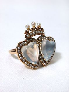 19th Century Moonstone & Pearl Crowned Hearts Ring