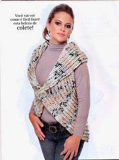 Receitas de Trico e Croche: Colete Redondo em trico Knit Shrug, Crochet Jacket, Crochet Poncho, Knit Vest, Diy Crochet, Sweater Jacket, Jacket Pattern, Crochet Clothes, Plaid Scarf