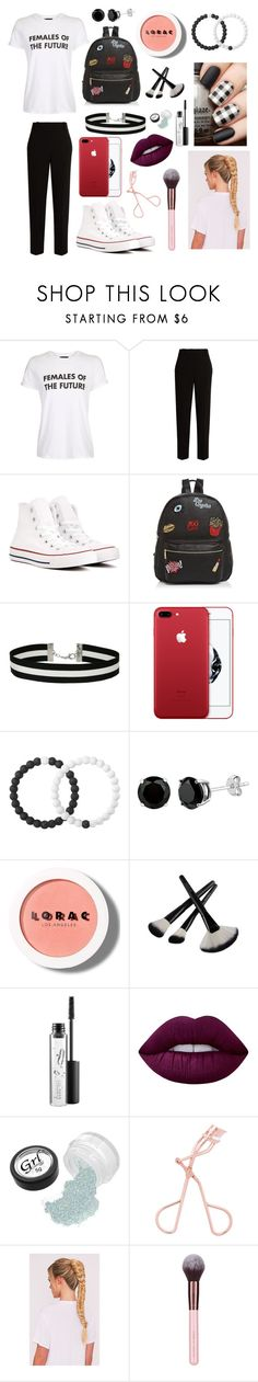 """Untitled #163"" by ciaosonia-1 ❤ liked on Polyvore featuring Topshop, The Row, Converse, Ollie & B, Miss Selfridge, Lokai, LORAC, MAC Cosmetics and Lime Crime"