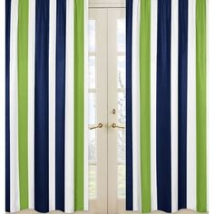 SHOP Contemporary Navy Blue and Lime Green Stripe Window Treatment Print Curtains by Sweet Jojo Designs. Striped Bedding, Striped Curtains, Long Curtains, Green Curtains, Rod Pocket Curtains, White Curtains, Panel Curtains, Curtain Panels, Cotton Bedding