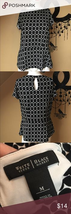 White House Black Market top A lovely top from WHBM. Lined, so no see through problems. Missing it's belt. Add a belt, or snip off the loops for a belt. Chest across 18 inches. No rips or stains. Bundling is fun; check out my other items! No price talk in comments. No trades or holds. NO SPAM. White House Black Market Tops Blouses