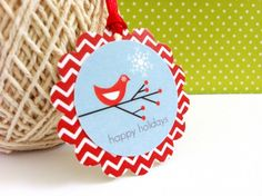 Holiday Season is upon us. It's the season of gifting. Adorn your presents with these cute Bird in a branch tags. A lovely snowflake is just too sweet and the red chevron is modern, bright and cheerfu