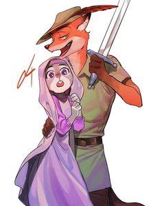 Judy Hopps and Nick Wilde - Zootopia x robin hood crossover Disney Pixar, Disney Fan Art, Disney And Dreamworks, Disney Animation, Disney Love, Disney Magic, Zootopia Fanart, Zootopia Comic, Zootopia Nick And Judy
