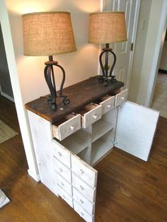 DIY Apothecary cabinet made from a pallet! -- I don't have the tools to make this right now, but this is a great idea for an entryway/foyer
