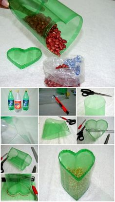 Here's the link to the tutorial >> How to Make Heart Shaped Plastic Bottle Container << by Reuse Plastic Bottles, Plastic Bottle Flowers, Plastic Bottle Crafts, Recycled Bottles, Upcycled Crafts, Diy Crafts For Kids, Fun Crafts, Soda Bottle Crafts, Decoration