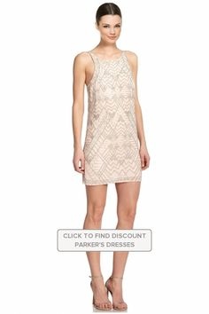 Parker Monaco #Beaded Sleeveless #Plush #FullyLined #Cocktail Dress #Dresses #Floral #Oyster #Parker @parkernewyork #Polyester #WTS #WhoTopsSyle