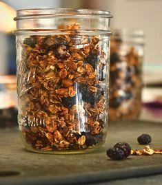 Simple Blueberry Granola Heart Healthy Breakfast, Plant Based Breakfast, Dried Blueberries, Raw Almonds, Vegan Kitchen, Ann Arbor, Original Recipe, Granola, How To Dry Basil