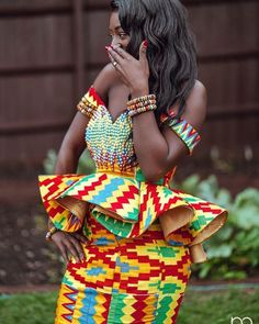 34 Latest Ghanaian Kente Dresses Styles For Engagement To Copy in 2019 - Fashionuki African Fashion Ankara, Ghanaian Fashion, Latest African Fashion Dresses, African Print Dresses, African Print Fashion, African Dress, African Wedding Attire, African Attire, African Wear