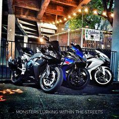 Beasts rumble through the streets. IG: mikebedingfield #sportbike #bikelife #lifeontwos #honda #cbr600rr #suzuki #gsxr1000 #gsxr600 #beastmode