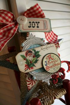 Vintage Style Christmas Star Santa JOY sign decoration tag