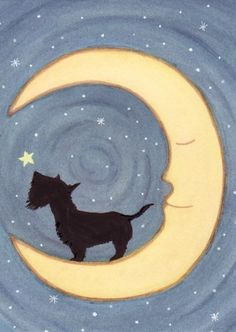 Scottish terrier (scottie) stands howling on the moon / Lynch signed folk art print on Etsy, $13.24