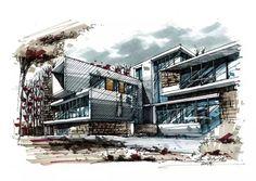 从线稿到马克,建筑手绘的正确打开方式来啦!