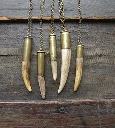 Antler tip bullet shell necklace chain rustic upcycled recycled punk vintage salvaged silver brass men women fathers day deer by decomp @Etsy