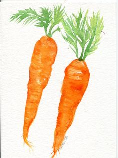 Carrots watercolor painting original vegetable by SharonFosterArt