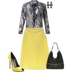 """Yellow & black"" by julietajj on Polyvore"