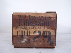 vintage industrial wooden tomato crate stamped '29' by epochco, $40.00