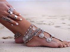 Feet bracelet silver Arabic hippie boho chic style fashion