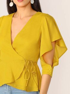 Flutter Cuffed Sleeve V-Neck Wrap Blouse - Her Crochet Kurti Sleeves Design, Kurta Neck Design, Sleeves Designs For Dresses, Dress Neck Designs, Sleeve Designs, Kurta Designs, Blouse Designs, Stylish Dresses, Fashion Dresses