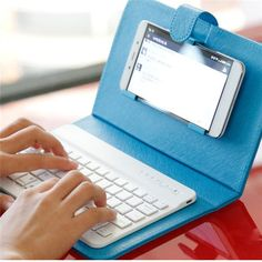 Universal Wireless Bluetooth Keyboard Holster Flip PU Case Cover For Smartphone in 4.5''-6.5''