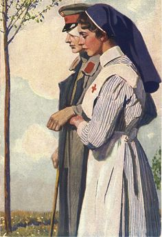 An illustration of a nurse guiding a wounded and blinded German soldier, ca. Pictures of Nursing: The Zwerdling Postcard Collection. National Library of Medicine Vintage Nurse, Vintage Art, Nursing Pictures, Funny Pictures, Ww1 Art, Nurse Aesthetic, Nurse Art, American Red Cross, Medical Art